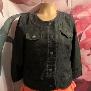 Sandro Black jean jacket small metal buttons